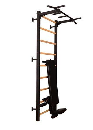 Drabinka gimnastyczna z drążkiem, poręczami i ławeczką 313B BenchK 240 x 67 cm