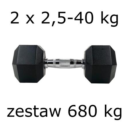 Zestaw hantli hex 2 x 2,5-40 kg (680 kg)